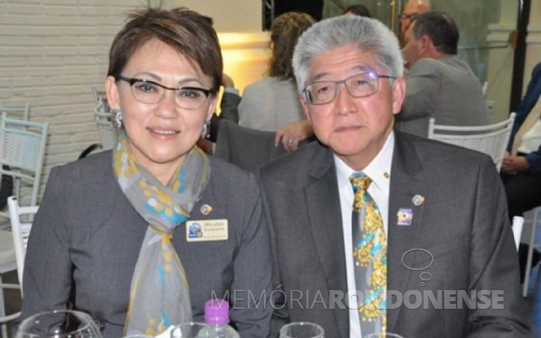 Casal Eduardo Katsusi Toshimitsu e esposa Hilaide, ele governador do Distrito 4640, do Rotary Clube.  Imagem: Acervo Central Cultural - FOTO 10 -