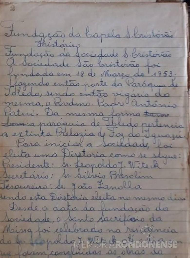 Histórico de fundação da capela da Linha São Cristóvão.  Imagem: Acervo de Izoldi Viteck Adams - FOTO 1 -