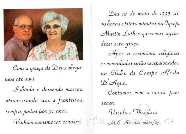 Convite para as Bodas de Ouro do casal Theodoro e Úrsula Koniecziniak.  Imagem: Acervo Fred Teodoro Koniecziniak - Curitiba - FOTO 3 -