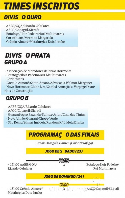 Agremiações que disputaram o Campeonato Municipal de Futebol Amador 2018, de Marechal Cândido Rondon, com registro das datas e local das disputas finais.  Imagem: Gráfico de O Presente - FOTO 6 -