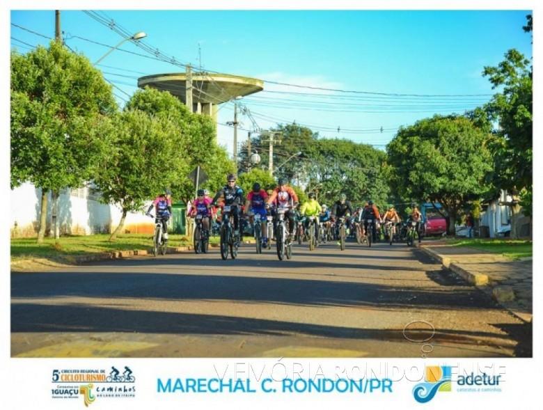 Ciclistas participantes da 7ª etapa do 5º Circuito Regional de Cicloturismo.  Imagem: Acervo Adetur - Cataratas e Caminhos - Crédito: Clóvis Froelich - FOTO11 -