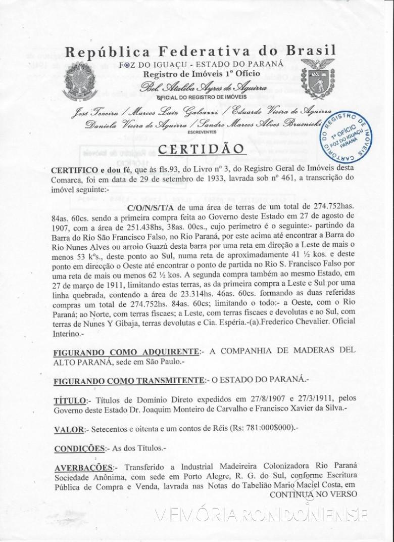Certidão (primeira página) de lavratura da escritura pública de venda e compra da