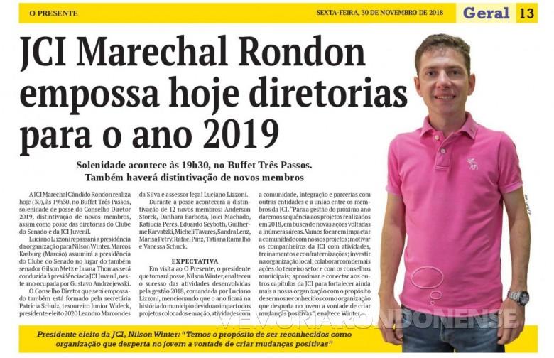 Destaque do jornal O Presente referente a posse do Conselho Diretor 2019 da JCI - Marechal Cândido Rondon e dirigentes de entidades vinculadas.  Imagem: Acervo O Presente - FOTO 5 -