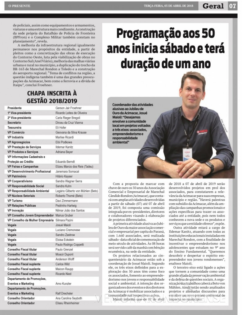 Matéria noticiosa do jornal O Presente apresenta a a composição da chapa para a diretoria da ACIMACAR para o biênio 2018/2019.  Imagem: Arquivo O Presente - FOTO 10 -