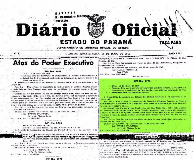 Publicação da Lei nº 5774/68 que criou o distrito administrativo e judiciário de Margarida, no município de Marechal Cândido Rondon.  Imagem: Acervo Arquivo Público do Paraná - FOTO 2 -