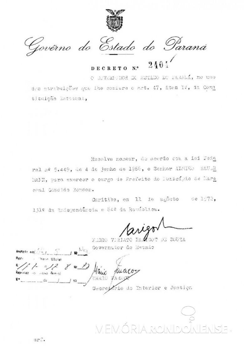 Cópia do decreto de nomeação de Almiro Bauermann como prefeito municipal de Marechal Cândido Rondon, em agosto de 1972. Imagem: Acervo Arquivo Público do Paraná - FOTO 1 -