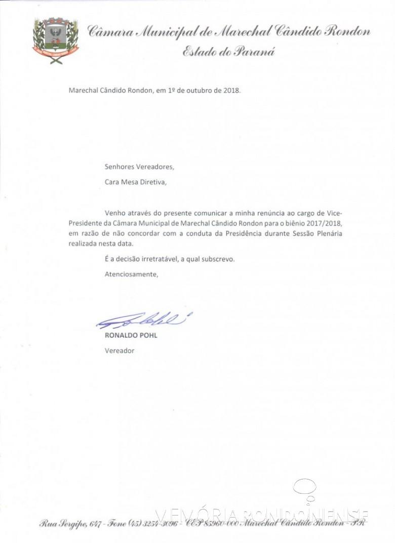 Carta de renúncia ao cargo de vice-presidente da Câmara Municipal de Marechal Cândido Rondon formulado pelo vereador Ronaldo Pohl.  Imagem: Acervo CM-MCR - FOTO 14 -