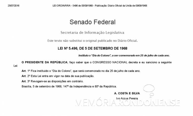 Copia da Lei Federal nº 5.496/1968, que instituiu a