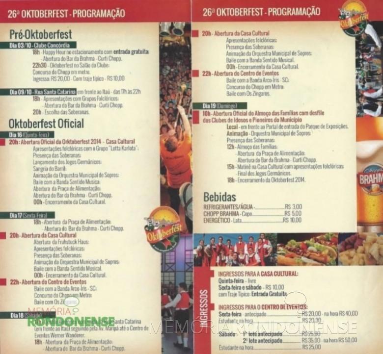 Programação da 26ª Oktoberfest de Marechal Cândido Rondon. Imagem: Facebook – FOTO 5 -