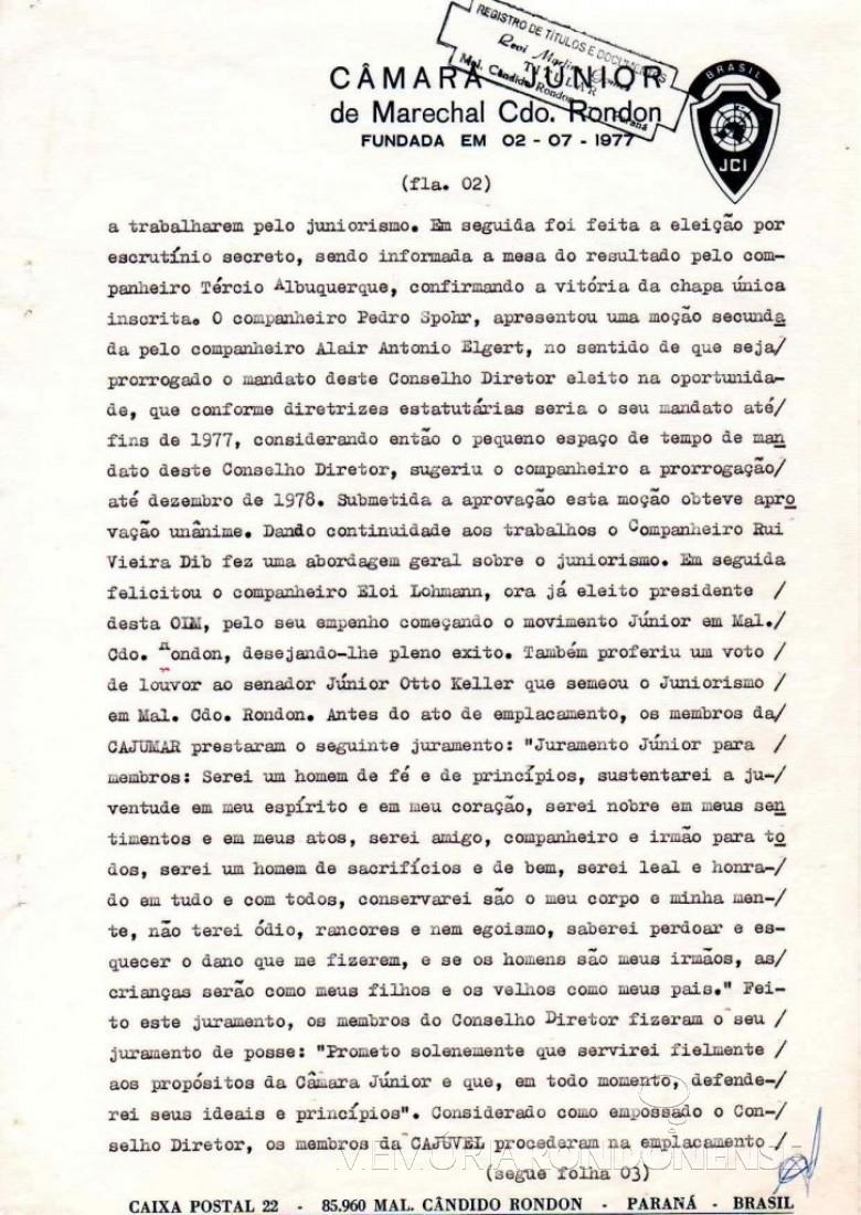 Página 2 da ata de fundação da JCI Marechal Cândido Rondon.  Imagem: Acervo JCI - FOTO 6 -
