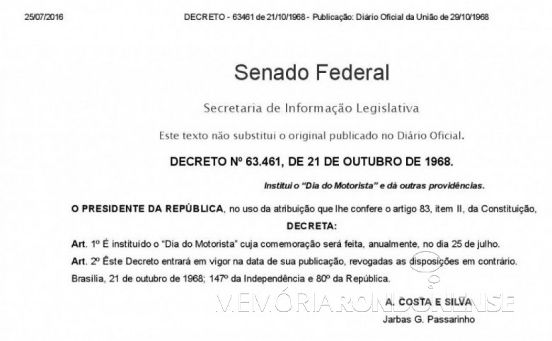 Copia do Lei Federal nº 5.496/1968, que instituiu o