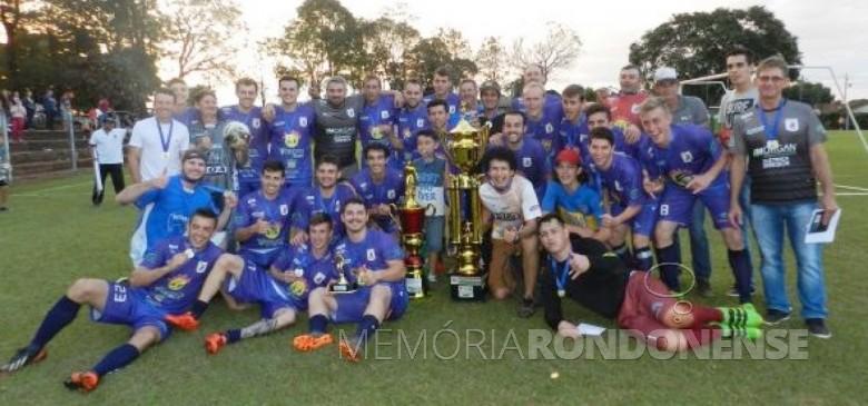 Grêmio Aimoré - campeão do Campeonato Municipal de Futebol Amador 2018 Divisão Ouro, de Marechal Cândido Rondon.  Imagem: Acervo Olho na Bola - Crédito: Gustavo Cunha - FOTO 13 -