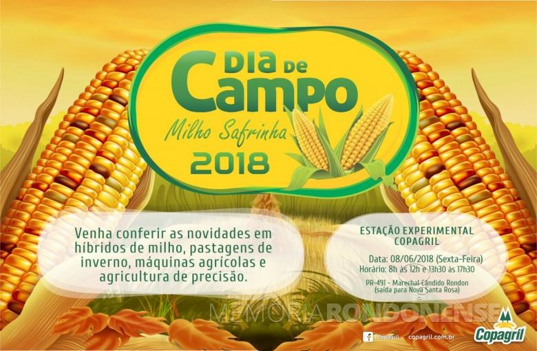 Dístico do Dia de Campo Milho Copagril 2018.  Imagem: Acervo Imprensa Copagril - FOTO 5 -