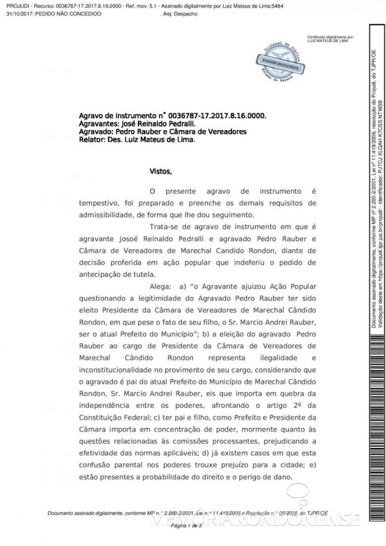 Decisão do desembargador Luiz Mateus de Lima  no pedido de revisão da decisão do juiz Luiz Fernando Montini  (1ª página).   Imagem: Acervo Memória Rondonense - FOTO  9 -