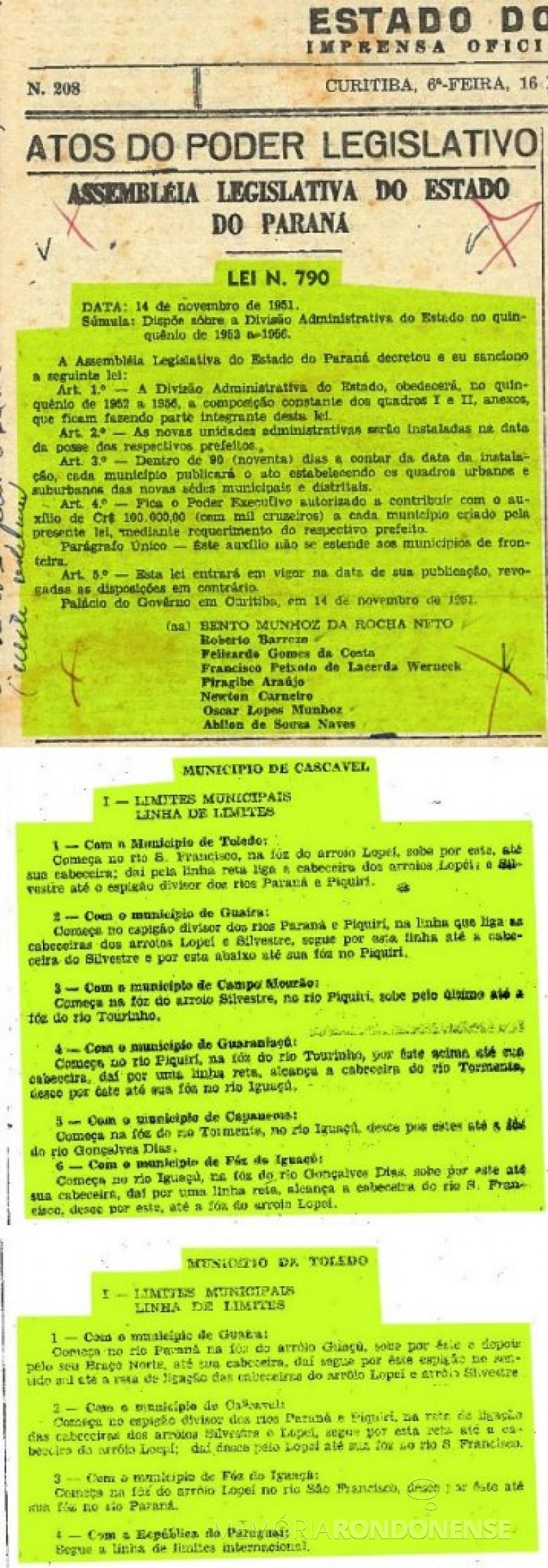 Publicação da Lei nº 790 que trata da divisão administrativa do Estado do Paraná no quinquênio 1952-1956, e as publicações ao Anexo da referida Lei que criou o município de Cascavel e Toledo, publicado no Diário Oficial nº 217, de 27 de novembro de 1951, às páginas 1, 5 e 26, respectivamente.  Imagem: Acervo Arquivo Público do Estado - FOTO 2 -