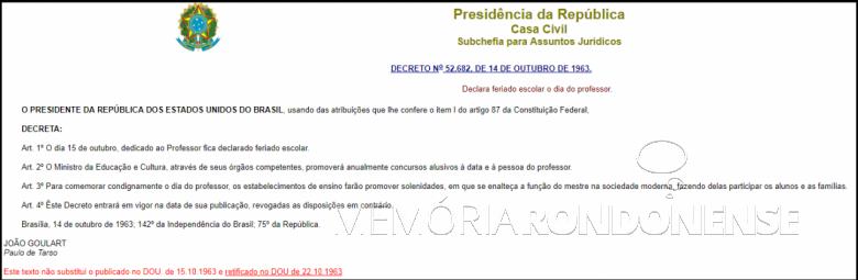 Decreto federal nº 52.682/1963 que oficializou o dia 15 de outubro como o
