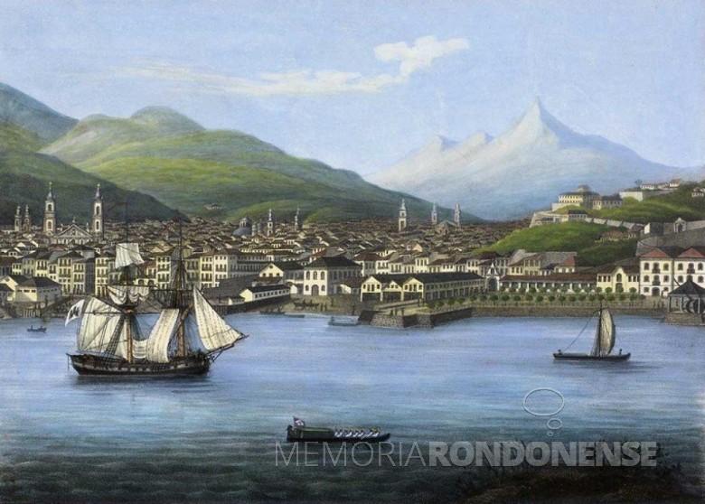 Porto da cidade do Rio de Janeiro, em pintura de meados do século 19, de autor desconhecido. Neste ponto aportaram os primeiros alemães que chegaram ao Brasil. Imagem: Acervo Ibanes Mendes