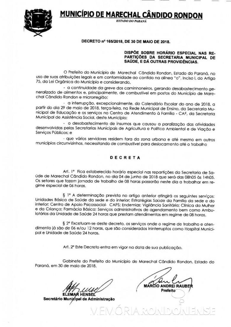 Decreto nº 165/2018 que alterou o horário de funcionamento das repartições públicas municipais da Prefeitura Municipal de Marechal Cândido Rondon . Imagem:  PM - Marechal Cândido Rondon - FOTO 6 -