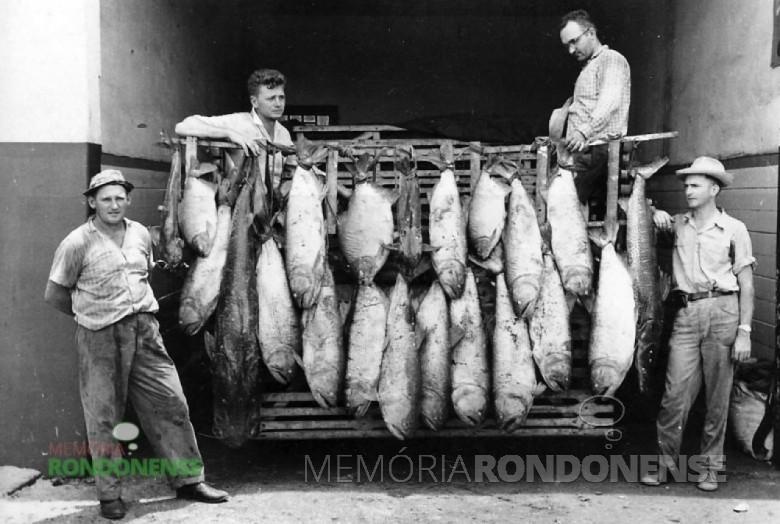 O pioneiro Edwino von Borstel, à esquerda, depois de um dia de pesca no Rio Paraná, no final da década de 1950.  Ainda na foto, da esquerda a direita: Ercy Sturm, Norberto Rieger e Alberto Hass, funcionário da Casa Rieger.  Imagem: Acervo Memória Rondonense  - FOTO 3 -