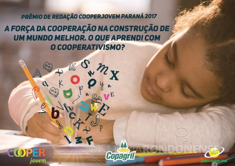 """Banner institucional  do programa Cooperjovem 2017 com o tema : """"A força da cooperação na construção de um mundo melhor. O que aprendi com o cooperativismo?"""