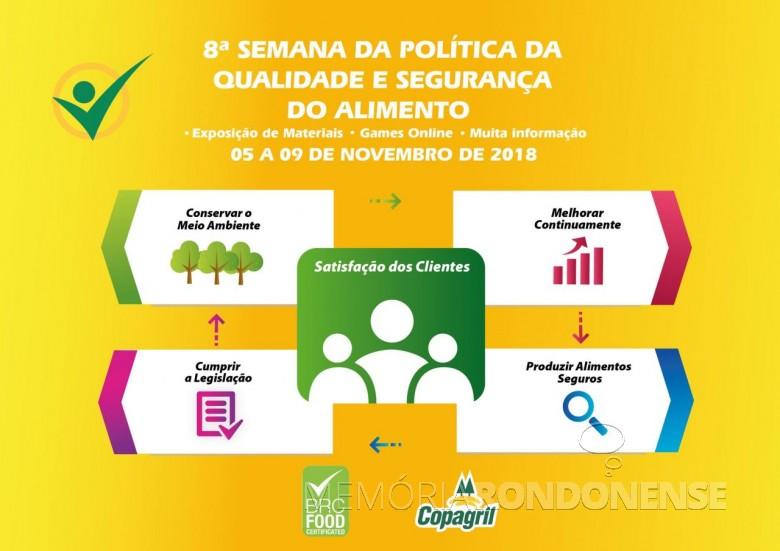 Dístico alusivo a 8ª Semana da Política da Qualidade e Segurança do Alimento da Copagril.  Imagem: Acercvo Comunicação Copagril - FOTO 13 -