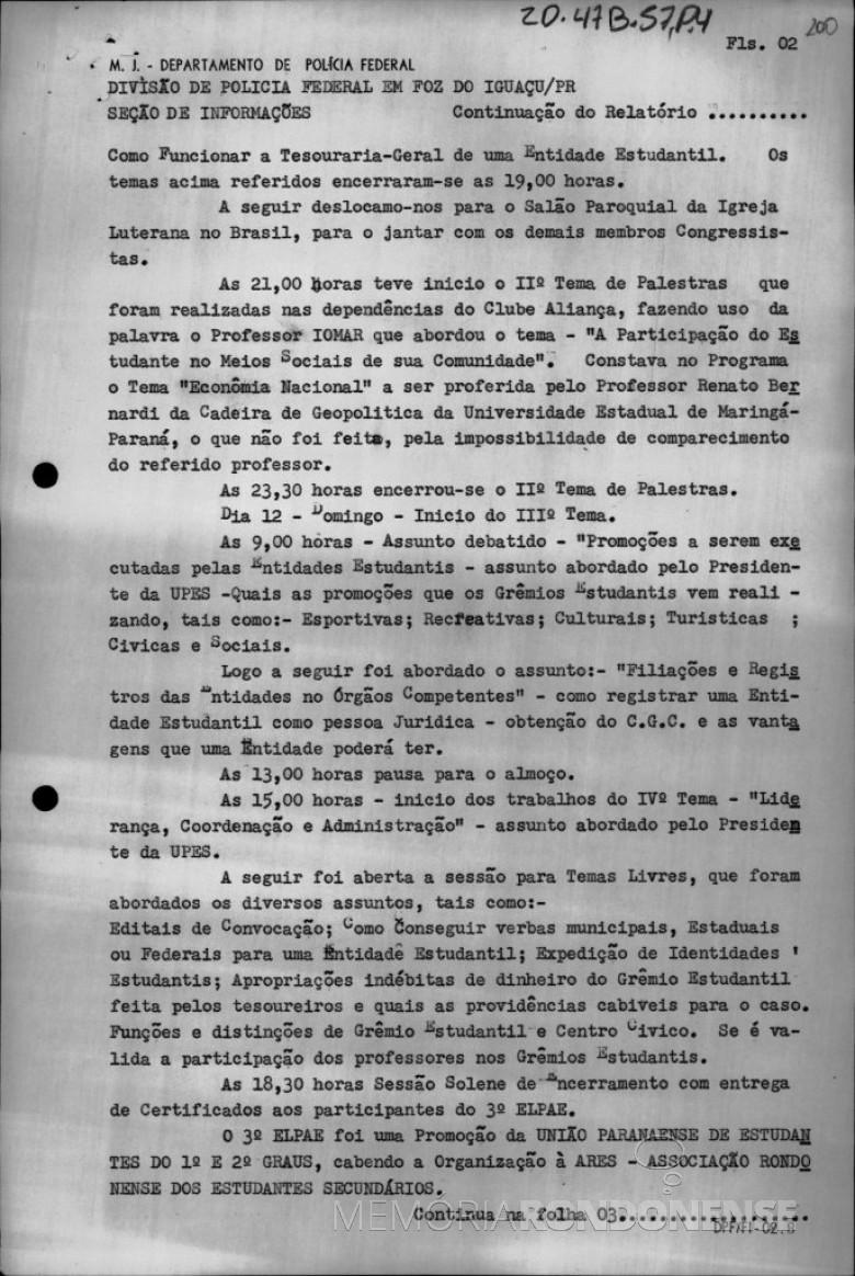 2ª Parte - Relatório sobre a presença secreta de agentes da Polícia Federal no 3º ELPAE, em Marechal Cândido Rondon.  Imagem: Reprodução - FOTO 3 -