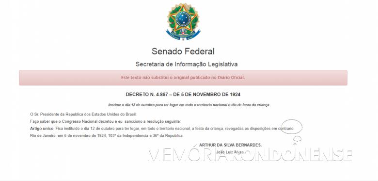 Decreto Federal nº 4.867/1924, que institui o