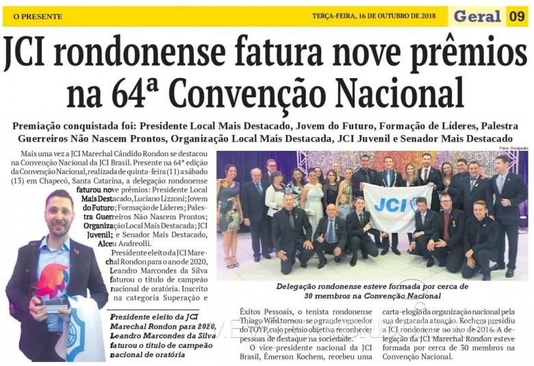 Matéria de O Presente referente a participação da JCI Marechal Cândido Rondon na Convenção Nacional 2018,  em Chapecó (SC(,  Imagem: Acervo do jornal - FOTO 8 -