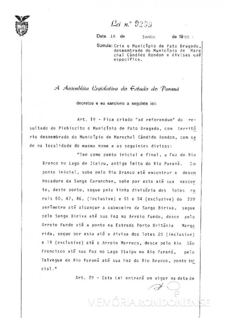 Cópia da Lei nº 9.229/90, que criou o município de Pato Bragado - 1ª parte Imagem: Arquivo Público do Paraná - FOTO 1 -