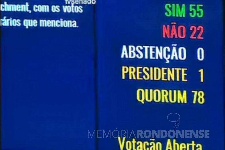 Placar da votação do impeachment da Presidente Dilma Rousseff. Imagem: agênciabrasil - FOTO 4 –