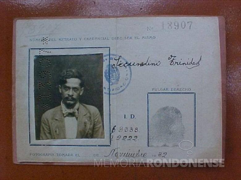 Pioneiro Secundino Trinidad (Tropelito), falecido em outubro de 1989.  Imagem: Acervo Professor Tarcisio Vanderlinde - FOTO 4 -