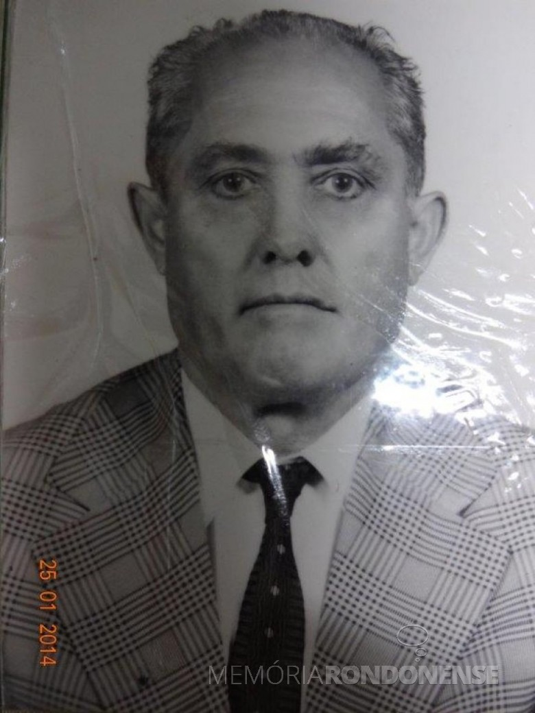Pioneiro rondonense Alfredo Nied falecido em final de outubro de 1993.  Imagem: Acervo Walmor Nied - FOTO 5 -