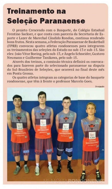 Destaque do jornal O Presente referente à convocação dos atletas da equipe de basquete do Colégio Estadual Frentino Sackser.  Imagem: Acervo O Presente - FOTO 15 -