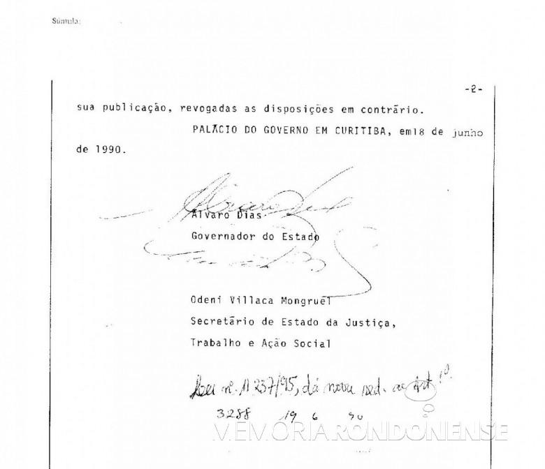 Parte final da Lei nº 9.299/90.  Imagem: Arquivo Público do Paraná - FOTO 2 -