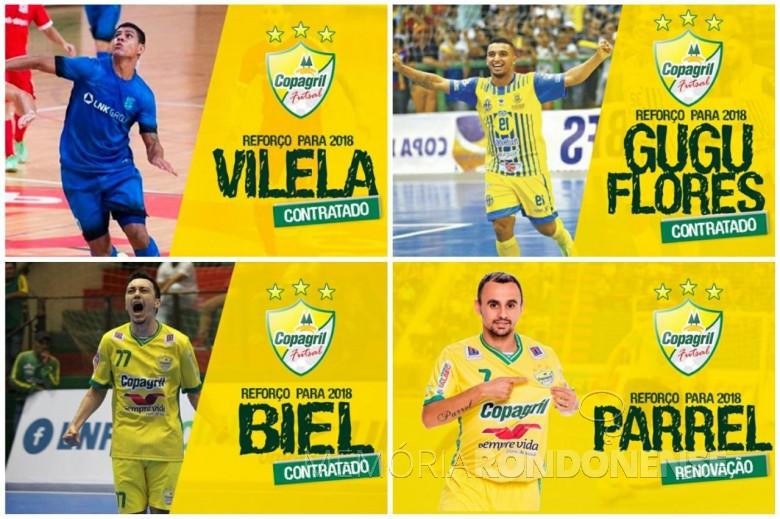 Quadro com as imagens dos jogadores contratados pela Copagril Futsal para a temporada 2018, anunciados no dia 02 de janeiro.   Imagens: Acervo Imprensa Copagril - Montagem: Tioni de Oliveira - FOTO 4 -