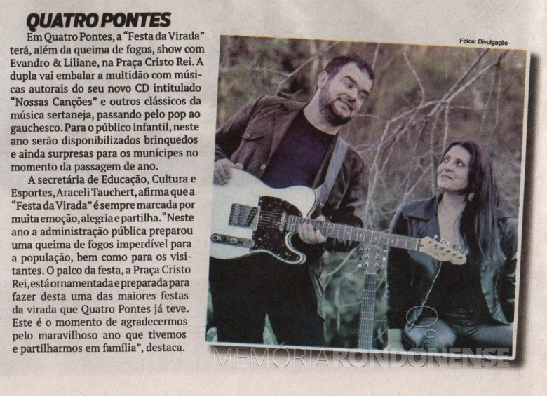 Referência no jornal O Presente quanto a agenda de eventos comemorativos ao Reveillon 2018, em Quatro Pontes. Imagem: O Presente - FOTO 7 -