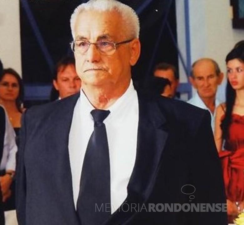 Pioneiro rondonense Abrelino Smaniotto falecido em 09 de março de 2013.  Imagem: Acervo Cirley Smaniotto Fuchs - FOTO 3 -