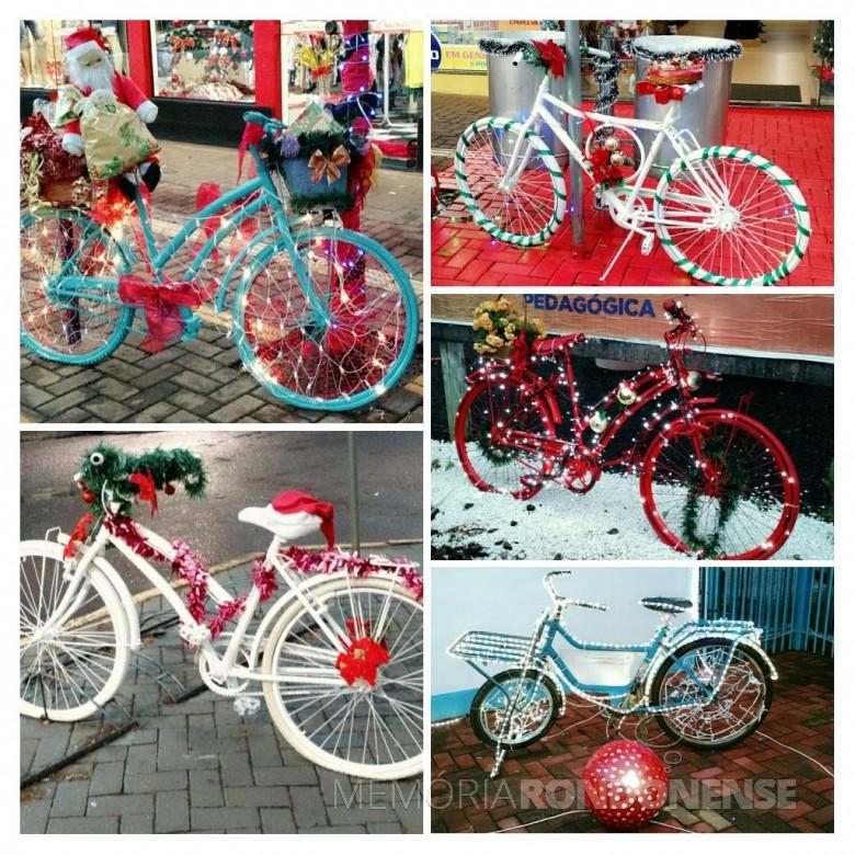 Bicicletas como peças decorativas de Natal em Marechal Cândido Rondon, dezembro de 2018.  Imagem: Acervo O Presente - Montagem: Tioni de Oliveira - FOTO 6 -
