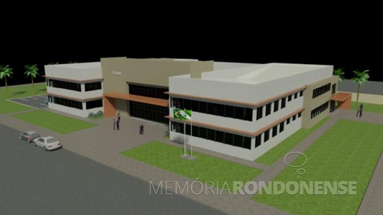 Perspectiva da nova sede do fórum da comarca de Marechal Cândido Rondon, inaugurado em 27 de janeiro de 2017.  Imagem: Acervo Memória Rondonense - FOTO 2 -