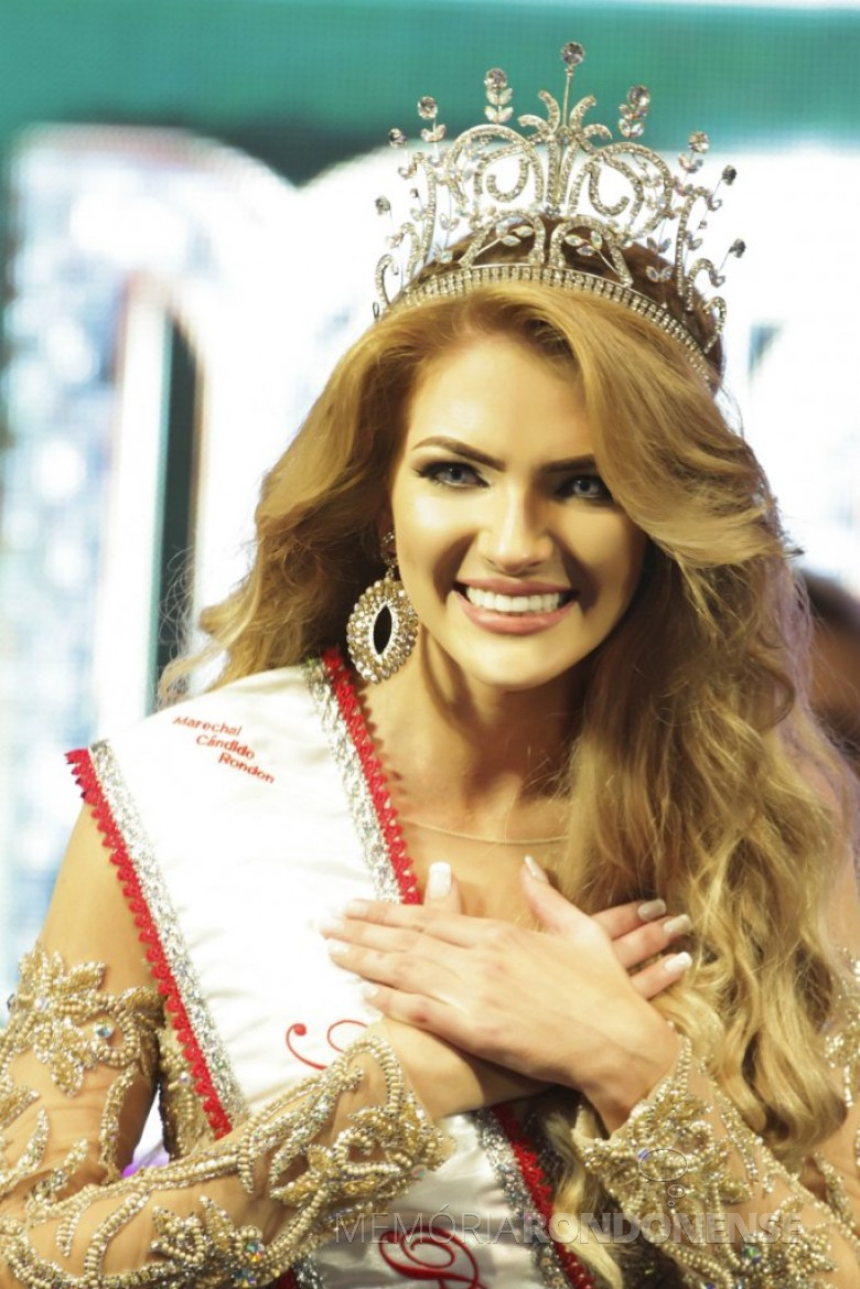 Aryala Stefani Wommer eleita Miss Marechal Rondon 2016, em 07 de maio de 2016.  Imagem: Acervo Imprensa-PM-MCR Crédito: Ademir Herrmann - FOTO 7 -