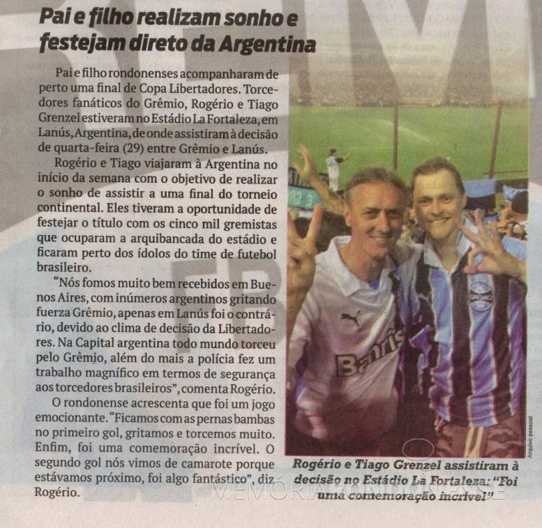 Os rondonenses Rogério de Tiago Grenzel na partida decisiva em Buenos Aires.  Imagem: O Presente - FOTO 11 -