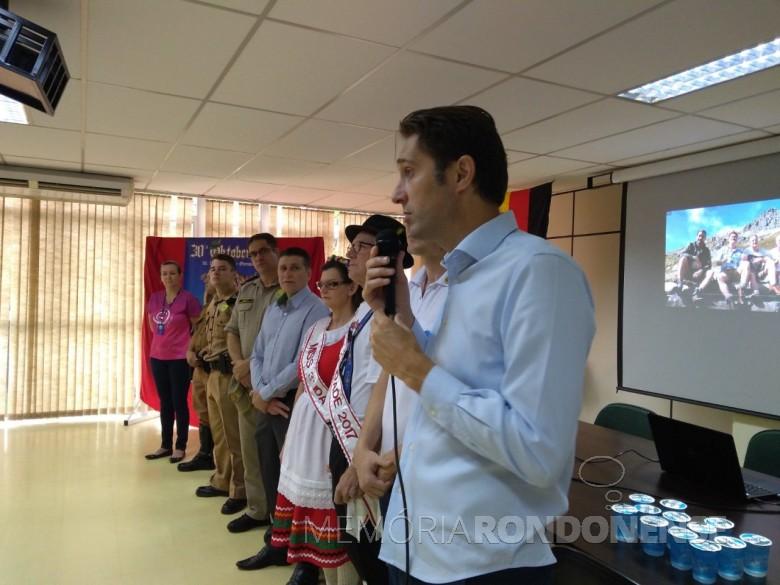 Prefeito Marcio Andrei Rauber fazendo o lançamento da Oktoberfest de Marechal Cândido Rondon 2018.  Imagem: Acervo Imprensa PM-MCR - FOTO 7 -