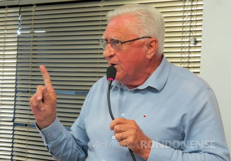 Vereador rondonense Pedro Rauber que em 1986 posicionou a bancada do PMDB a votar contra o requerimento para a construção da Casa da Cultura.  Imagem: Acervo O Presente - FOTO 4 -