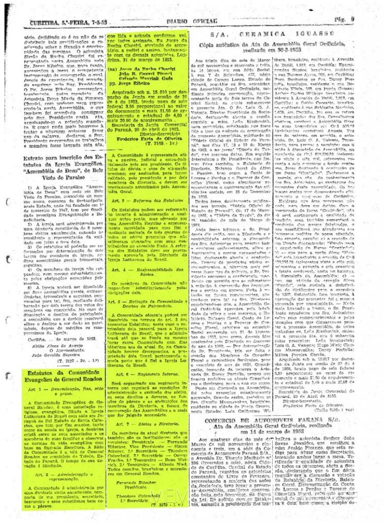Publicação do extrato dos Estatutos da Comunidade Evangélica Martin Luther, no Diário Oficial do Estado. Imagem:  Acervo Arquivo Público do Paraná - FOTO 2  -