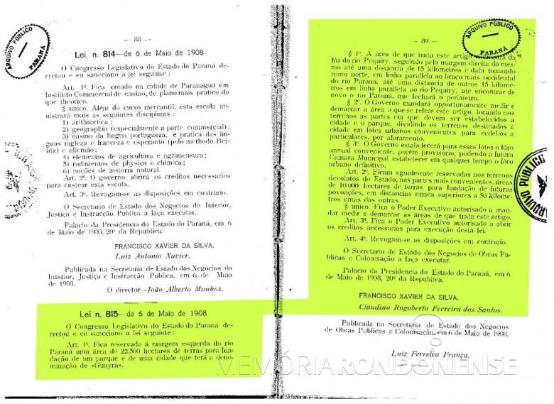 Cópia da publicação da lei nº 815/1908, que criou o extinto Parque Estadual das Sete Quedas e de fundação da cidade de Guaíra, antes vila Monjoli.  Imagem: Acervo Arquivo Público do Paraná - FOTO 2 -