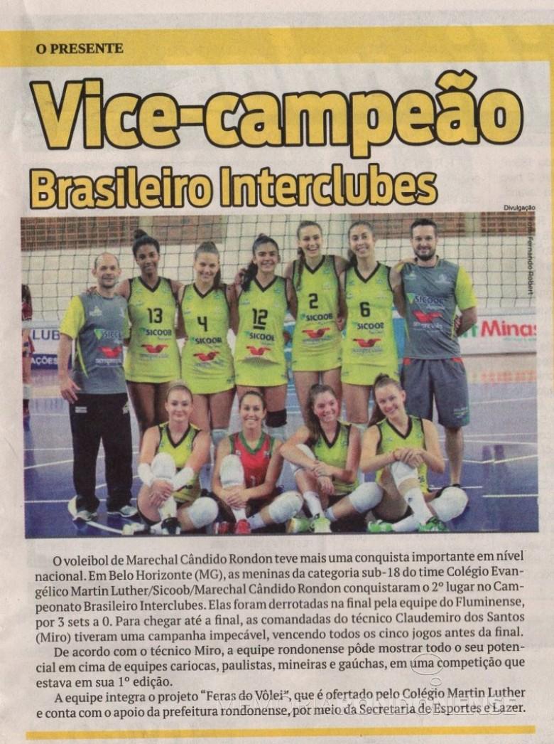 Equipe do Colégio Evangélico Martin Luther campeão do Campeonato Brasileiro Interclubes de Vôlei 2017. Imagem: O Presente - FOTO 8 -