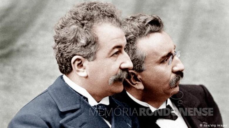 Irmãos Auguste e Louis Lumière  protagonistas da foto colorida.  Image: Acervo Deutsche Welle - FOTO 4 -