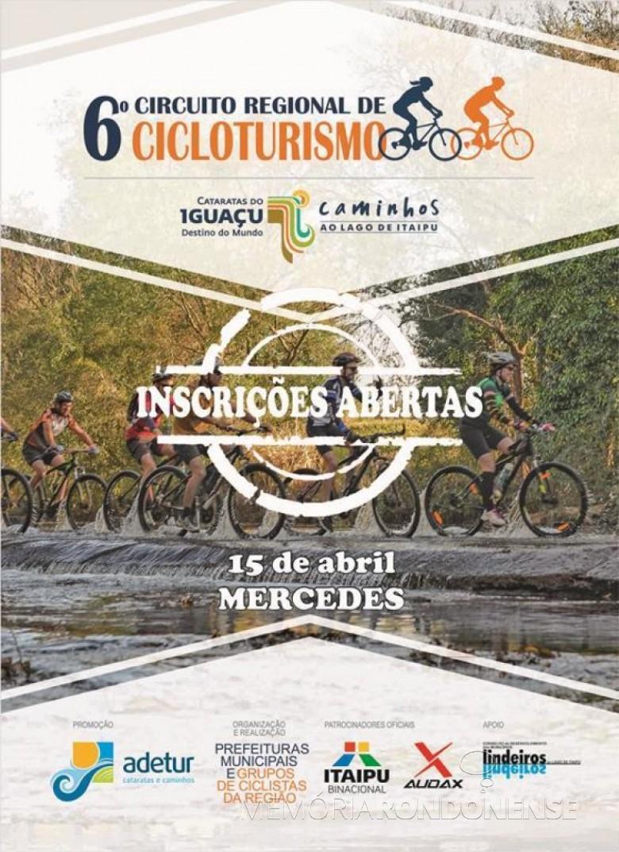 Banner da Adetur Cataratas e Caminhos com o anúncio da abertura das inscrições da etapa de Mercedes do 6º Circuito Regional de Cicloturismo.  Imagem: Acervo Adetur - FOTO 5 -