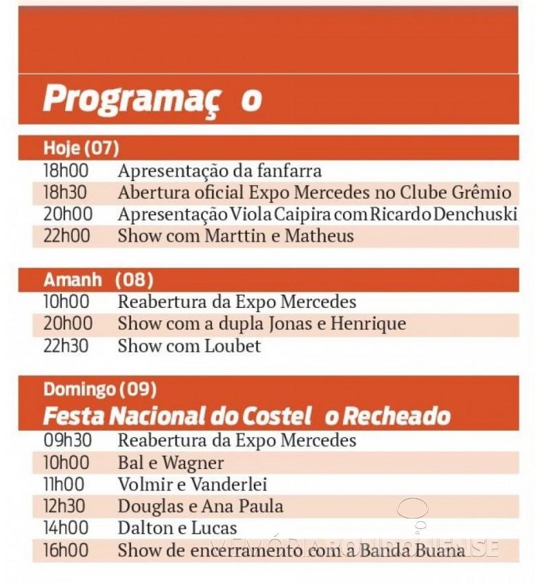 Agenda programática de eventos alusivos ao 26 º aniversário do município de Mercedes.  Fonte: Acervo O Presente - FOTO 8 -