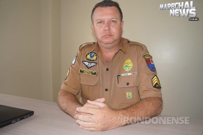 Sargento Marcos Carlton Henning que assumiu o comando da Rotam, sediado em Cascavel, em abril de 2018. Imagem: Acervo Marechal News - FOTO 15 -
